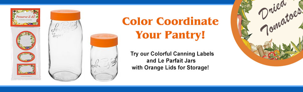 Le Parfait Jars with Orange Lids for Storage